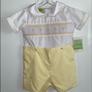 LE ZA ME BABY SMOCKED BUTTON ON SUIT